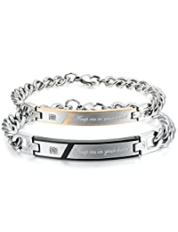 Flongo Men's Womens Keep me in Your Heart Couples Stainless Steel Matching Identification Love Valentine Engagement Promise Gift Link Bracelet, Christmas Wedding His Hers Bracelet Set