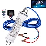 Goture 12V IP68 High-power LED Fully Submersible Night Fishing Light Deep Drop Underwater Lure Bait Fish Finder Lamp with 5.47 Cable for Krill, Phytoplankton, Squid - Blue with Remote Control