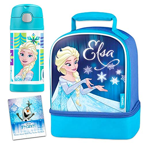 Frozen Thermos Lunch Box and Funtainer Set for Kids - Bundle Includes Dual Compartment Insulated Lunch Box and 12 Hour Cold Drink Stainless Steel Funtainer Water Bottle