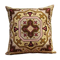 """D C.Supernice Embroidered Cotton Throw Pillow Cover Retro Style Cushion Cover for Car seat livingroom Bedroom Sofa Office with Invisible Zipper 18""""x18""""(45x45cm)"""