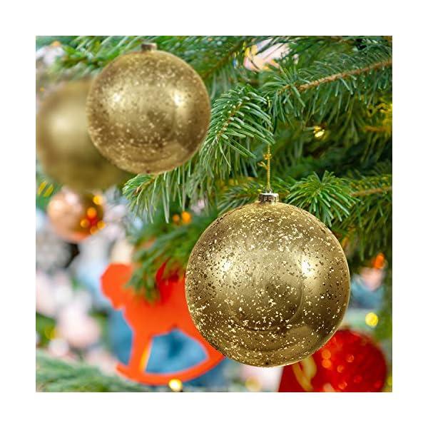 Palline di Natale Oro (Set da 2) - Palle di Natale Oro Grandi 15cm con Corda - Decorazioni Albero di Natale Oro in Plastica Infrangibile - Palline di Natale Dorate per Albero - Decorazioni Natalizie 6 spesavip