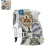 "warmfamily Havana Summer Quilt Comforter Travel Concept Passport Stamp Design of Cuban Cities and Landmarks Digital Printing Blanket 90""x70"" Cobalt Blue Grey and Dimgrey"