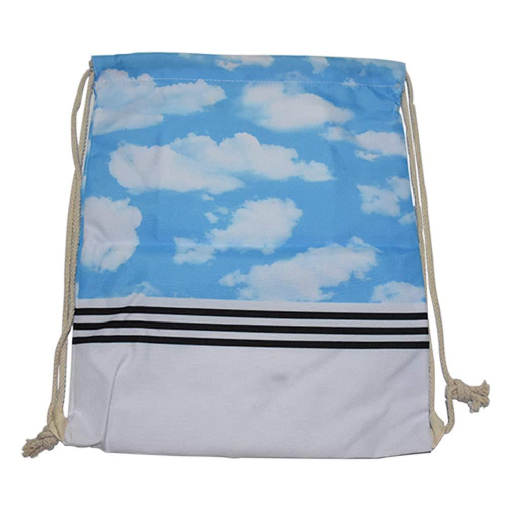 Meijunter 巾着バックパック 機能サックパック - キャンバススクールバッグ 巾着バックパック ギャラクシー 軽量 ショルダーバッグ 学校 若者 ティーンエイジ 女の子用  ブルースカイ B07GJDN7LD