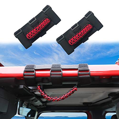 (Sukemichi Jeep Wrangler Roll Bar Grab Handles,Grab Grip Handle For Jeep Wrangler YJ TJ JK JK JL JLU Sports Sahara (2 Pack))