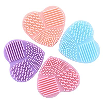 1 Pcs Colorful Heart Clean Makeup Brush Set Wash Silica Glove Scrubber Board Cosmetic Cleaning Tools Professional Natural Beauty Palettes Eyeshadow Pretty Popular Eyes Face Highlights Kit