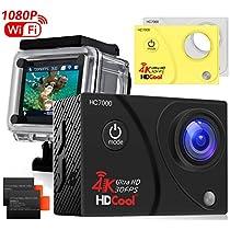 """HDCOOL, action camera, modello: 4K, ultraobiettivo con grandangolo a 170°, Wi-Fi, sportiva, impermeabile, 1080p, HD, 16MP per HC7000, schermo LCD da 2"""", 2batterie ricaricabili incluse"""