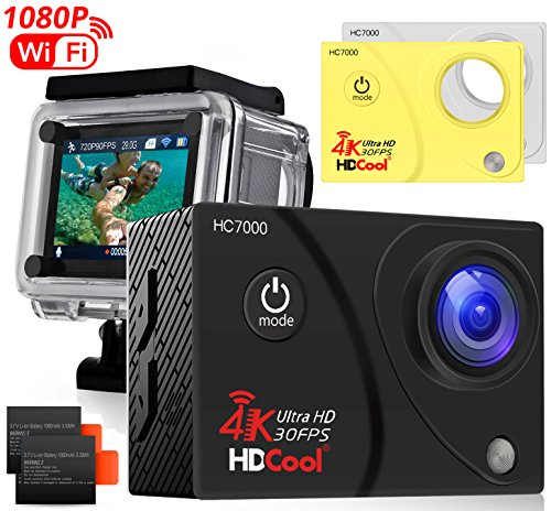 HDCool HC8000 Action Sports Camera 16MP Resolution WiFi Underwater Camera,2.0 Inch LCD Display 170° Wide-Angle...