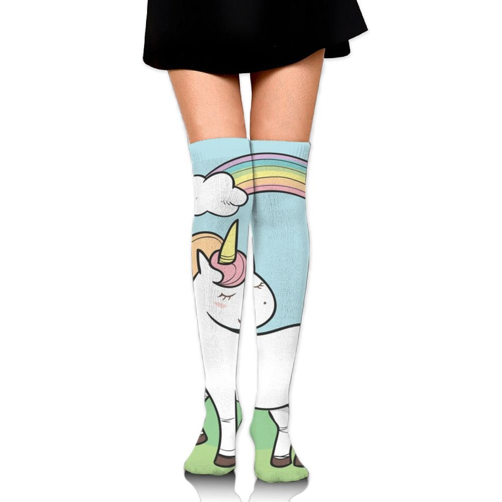 Fashion Rainbow Unicorn Knee High Socks Athletic Thigh High Socks For Girls
