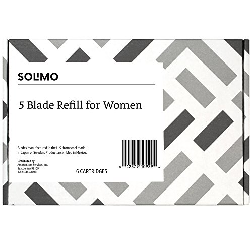 Amazon Brand – Solimo 5-Blade Razor Refills for Women, 6 Refills (Fits Solimo Razor Handles only) by Solimo (Image #4)