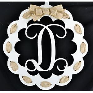 Letter D - Monogrammed Door Hanger | Mom Gift | White and Burlap Everyday Year Letter Door Hanger 103