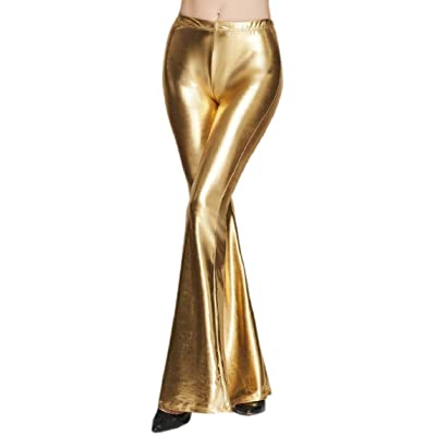 Gocgt - Pantalón - para Mujer Dorado Dorado US Large: Ropa y accesorios