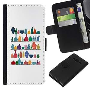 EJOY---La carpeta del tirón la caja de cuero de alta calidad de la PU Caso protector / Samsung Galaxy A3 / --Limpio Modelo blanco colorido