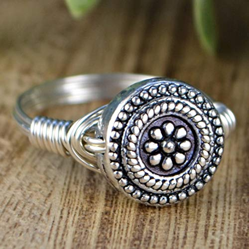 - 11mm Flower Bead Sterling Silver Wire Wrapped Ring- Custom made to size 4-14
