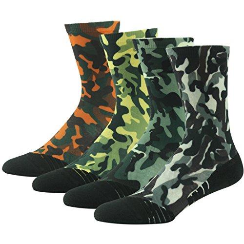 Camouflage Socks Walking Women, Huso Men Women Boy Girl Performance Digital Camo Printing Quick Wicking Padding Fashion Pattern Half Calf Football Socks Sport Outdoor Crew 4 (Digital Camouflage Patterns)