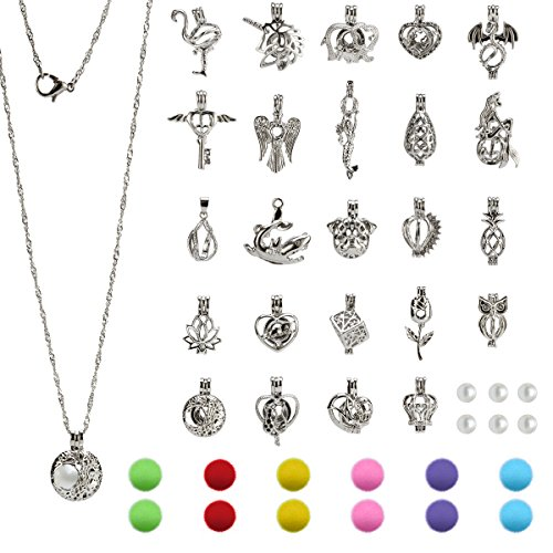 24pcs DIY Pearl Bead Cage Pendants(No Duplicate)-Rhodiulm Coated Zinc Alloy Jewelry Locket with Cotton Pompoms for Essential Oil Aroma (Cotton Pearl Beads)