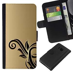 KLONGSHOP // Tirón de la caja Cartera de cuero con ranuras para tarjetas - Oro Negro Flores Floral - HTC One M9 //