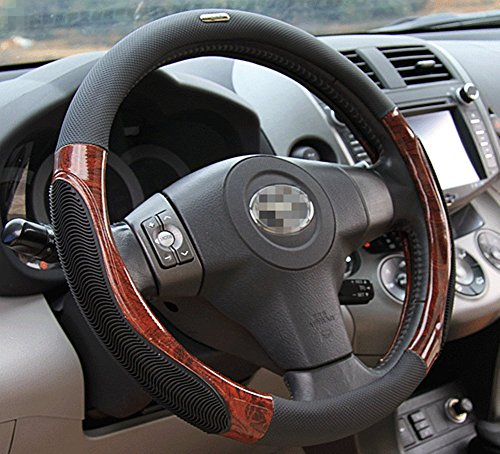Moyishi Top Leather Steering Wheel Cover Universal Fit Soft Breathable Steering Wheel Wrap (Black Wood)