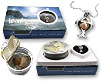 """Twin Dolphins Necklace Pendant Freshwater Cultured Pearl in Oyster Necklace Kit Set 18"""" Chain"""