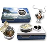 """Pearlina Cultured Pearl Oyster Necklace Kit Silver-Plated Twin Dolphin Cage w/ Stainless Steel Chain 18"""""""