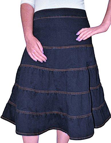 Kosher Casual Women's Modest Knee Length Tiered Denim Skirt Small Stonewash Black (Denim Skirt Tiered)
