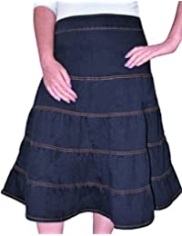 Kosher Casual Women's Modest Knee Length Tiered Denim Skirt
