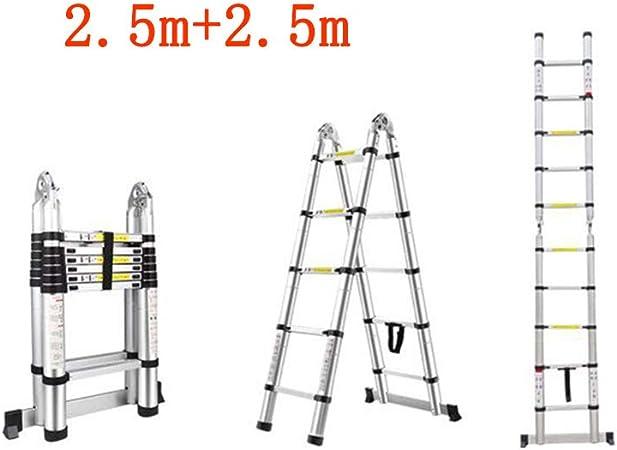 GLJJQMY Escalera Plegable casa Recta Espiga Recta Escalera Doble ático portátil de bambú Escalera de elevación Gruesa aleación de Aluminio (Size : 2.5m+2.5m): Amazon.es: Hogar