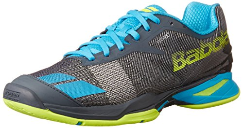 Babolat Men's Jet All Court Tennis Shoes (Grey/Blue/Yellow) (9 D(M) US)