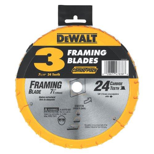 DEWALT DW3578B3 7.250 24T Framing Saw Blade Black, (24t Blade)