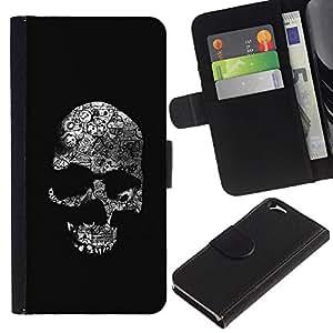 KLONGSHOP // Tirón de la caja Cartera de cuero con ranuras para tarjetas - Cráneo negro oscuro Death Shadow Huesos - Apple Iphone 6 //