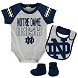 NCAA Notre Dame Fighting Irish Newborn & Infant Blitz Bodysuit, Bib & Booties, Heather Grey, 18 Months