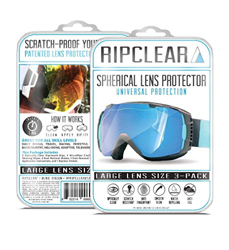 RIPCLEAR Smith I/O Snow Goggle Lens Protector Kit - Scratch-Resistant, Crystal Clear - 3-Pack by RIPCLEAR