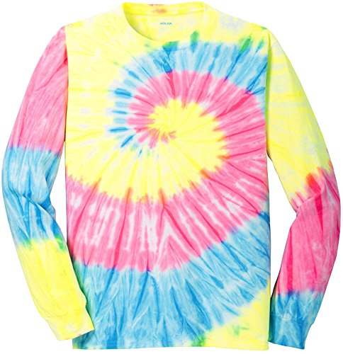 Koloa Surf Co.(tm) Colorful Long Sleeve Tie-Dye T-Shirt,L-Neon Rainbow ()