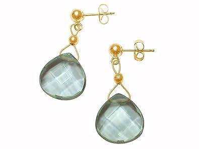 Gemshine - Earrings - 14k Gold plated - Blue Aquamarine Quartz - Faceted Teardrop cIcdlOQx