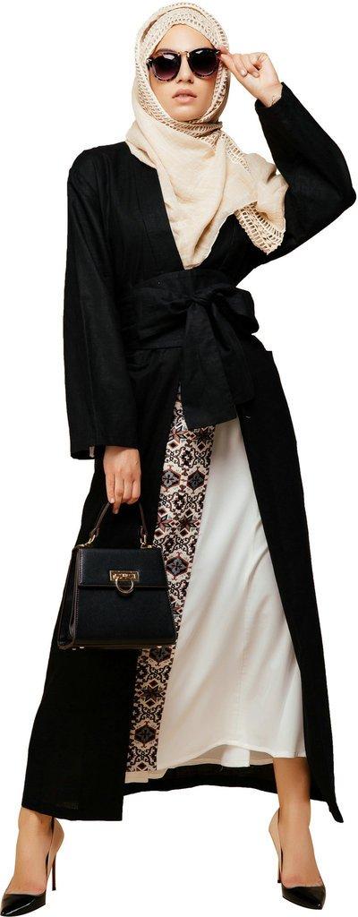 YI HENG MEI Women's Elegant Modest Muslim Islamic Cotton Linen Bow-Tie Trench Coat with Pocket,Black,XL