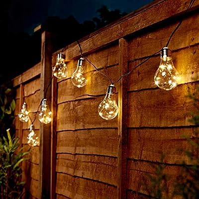 Festive Lights Tira de Bombillas LED, Exteriores, Funcionan con energía Solar, 50 Luces y 10 Bombillas, 3,6 m: Amazon.es: Jardín