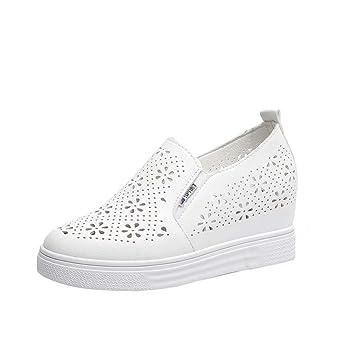 Mocasines Blancos PU De Las Mujeres Zapatos Casuales Recorte Transpirable Forrado Sandalias CuñAs De Cabeza Redonda