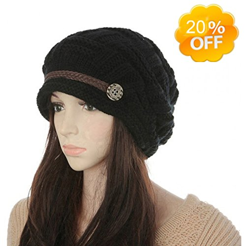 Women's Winter Knit Beanie Cap Warm Earmuffs Slouchy Crochet Hat Chunky Cap Button Strap Cap (Black)