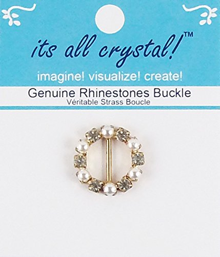 (Rhinestones Buckle - Gold Finish Metal Buckle Slider - Genuine Crystals and Pearls in Round Shape Setting for Wedding Invitation Letter Christmas Evening Wear Doll Outfit Dress - 1 pcs/pk - RSB3819)