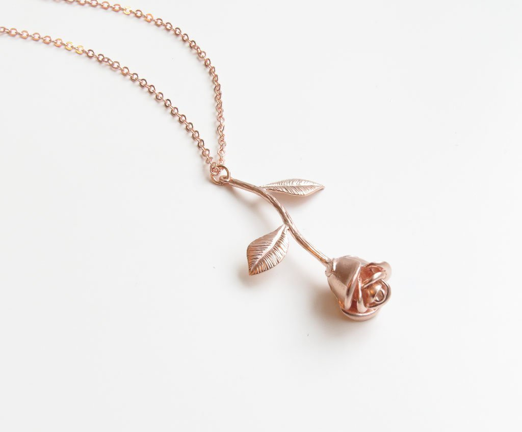 Rose Pendant Charm Necklace Gift for Women Anniversary Wife - 18 Length
