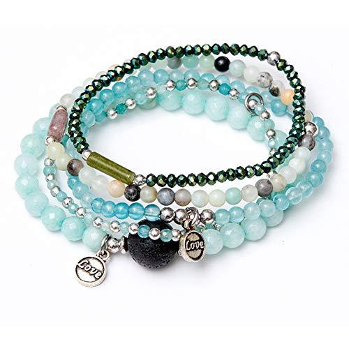 Bracelet Bead Set Stretch (tom+alice Beaded Bracelets for Women Stackable Handcut Natural Stones 5 pcs Ermish Stretch Set Bangle)