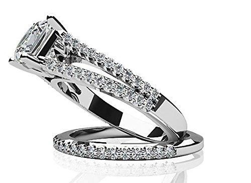 Or blanc 14K Split Tige Coupe Princesse de mariage Ensemble