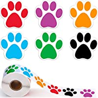 Boao A Roll of 600 Pieces Colorful Paw Print Stickers Dog Paw Labels Stickers Bear Paw Print, 1.5 Inch