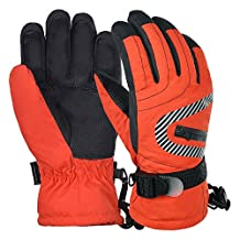 Vbiger Kids Winter Warm Gloves Waterproof Snow Ski Gloves Kids Sports Gloves for Sledding Cycling Snowboarding and More (L, Orange)