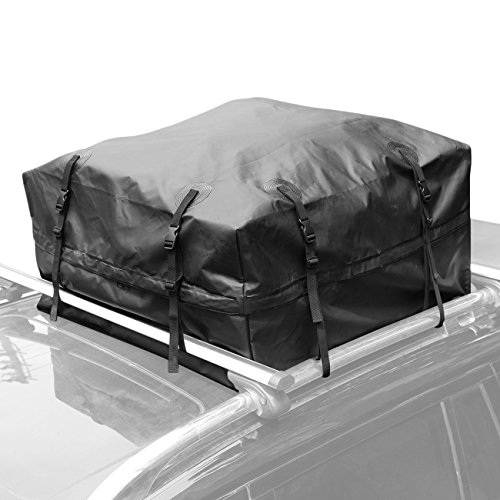 AUXMART waterproof rooftop cargo bag (15 Cubic Feet) - Roof Top Soft Luggage Carrier for SUV/VAN/Car (straps to Roof Rack Crossbars or a Roof Basket) by AUXMART