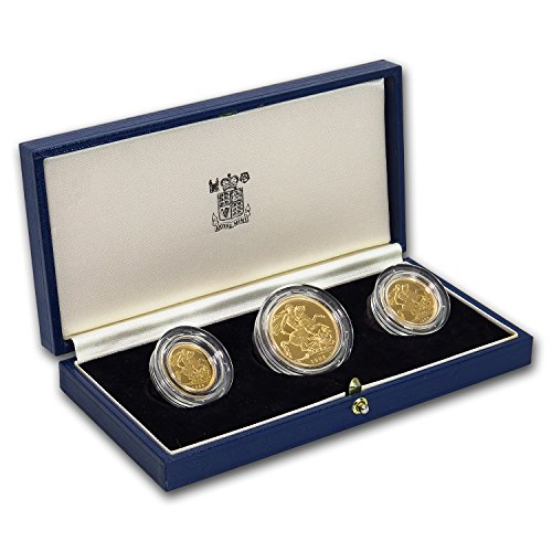 UK 1988 Great Britain 3-Coin Gold Sovereign Proof Set About Uncirculated