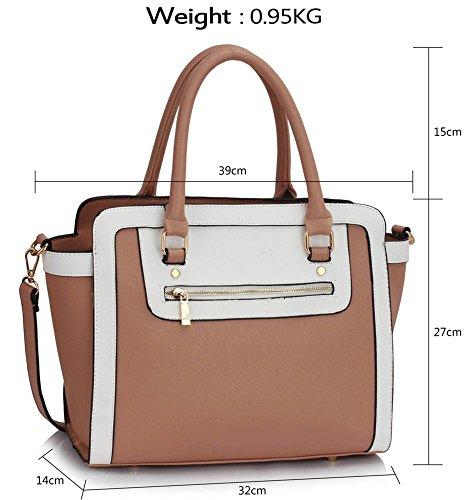 Women's Tone Tote Nude LeahWard Handbags Bags White Great Nice Two Shaped qP0dE