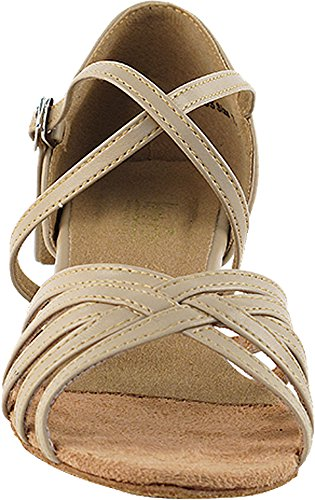 Zapatillas De Salón De Baile Para Mujeres Zapatos De Práctica De Salsa Latina 1670ceb Cómodo-muy Fino 1.5 [paquete De 5] Cuero Tostado