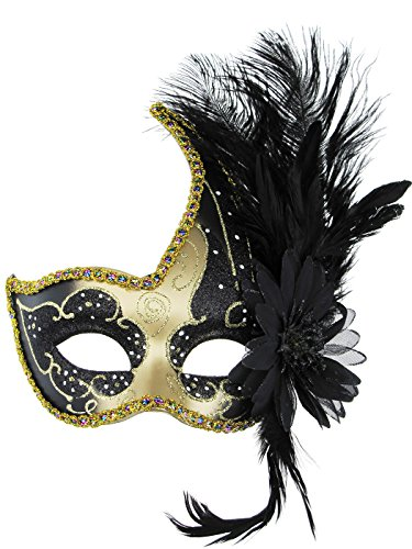 Costume Mask Feather Masquerade Mask Halloween Mardi Gras Venetian Party Mask (Black & -