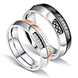 Aooaz 2 Pcs Rings Wedding Bands Engagement Rings Friendship Rings Silver Ps.I Love You Cubic Zirconia Rings With Free Engraving Womens 7 & Mens 10 Novelty Jewelry Gift