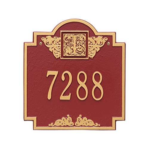 (Whitehall Products Monogram Standard Square Red/Gold Wall 1-Line Address Plaque)